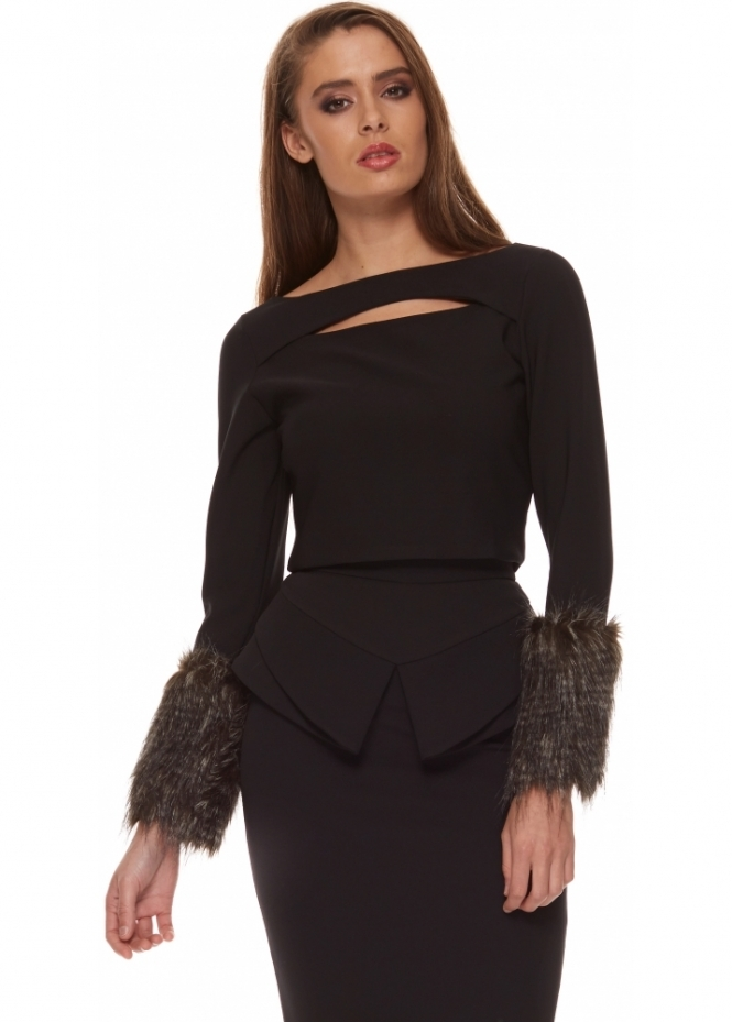 Genese Black Cropped Top With Faux Fur Cuffs & Back Zip