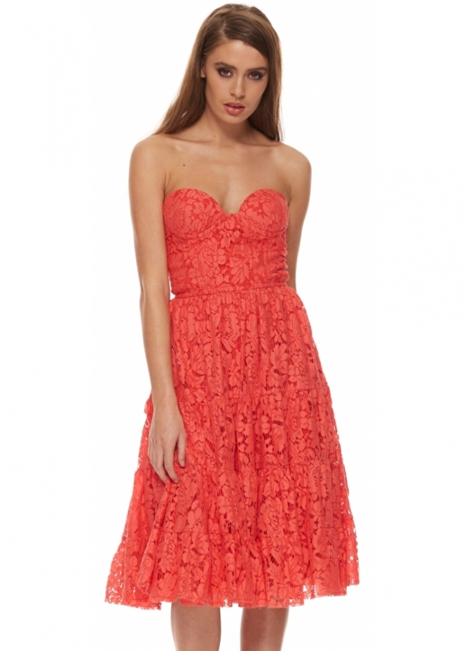 Miss Milne Kiss Them For Me Red Lace Skater Dress With Bustier Top