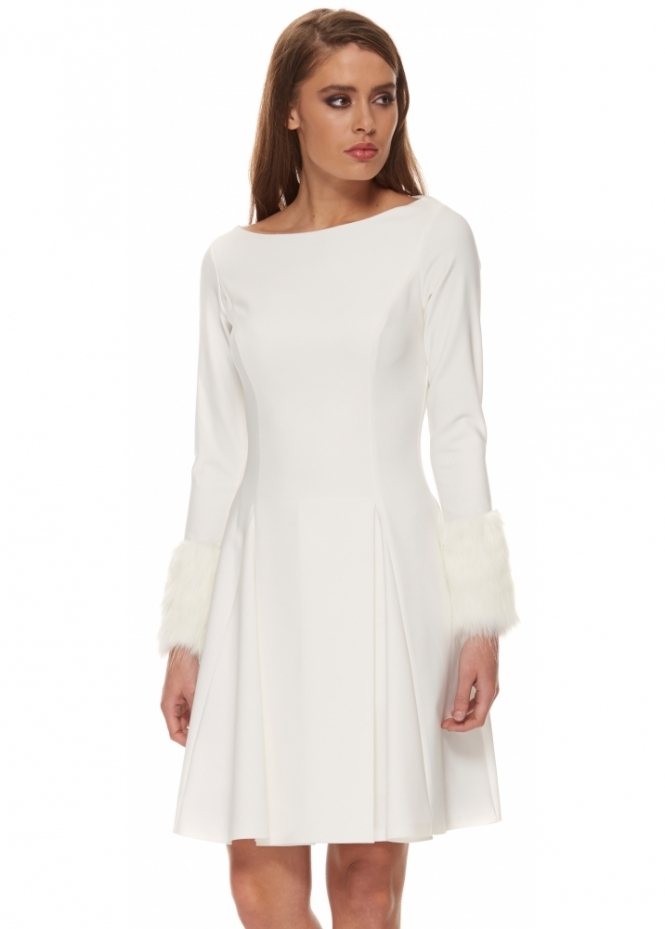Genese White Box Pleated Skater Dress With Faux Fur Cuffs