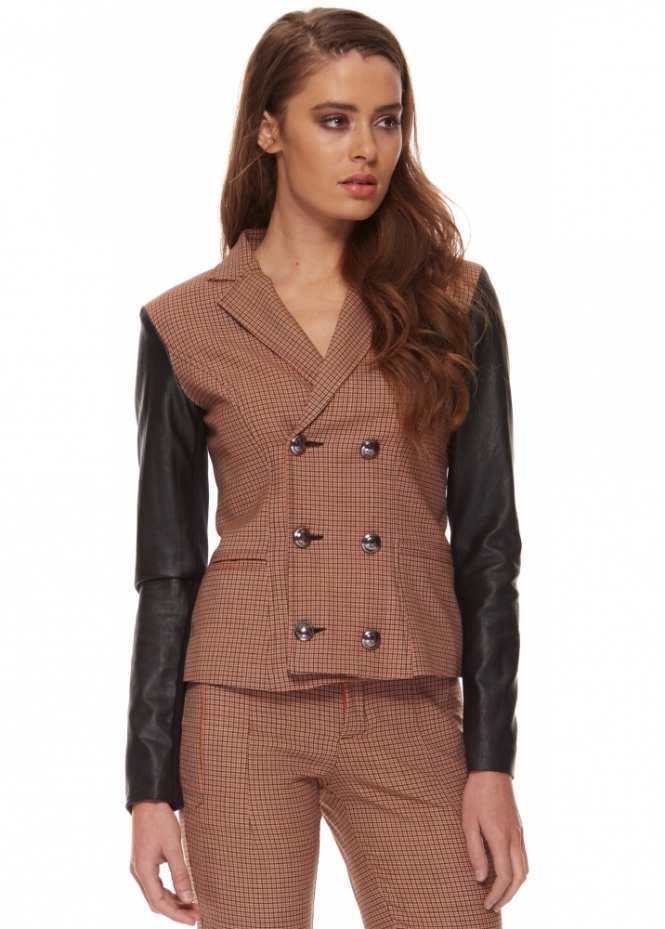 Silvian Heach Nicolella Orange Houndstooth Double Breasted Leatherette Jacket