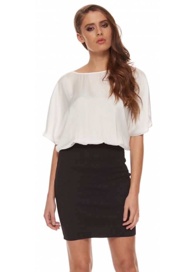 Silvian Heach Avnet Dress With Tube Skirt & White Blouse Top