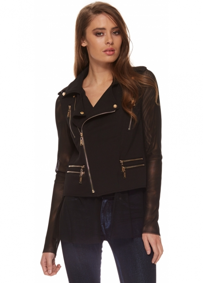 Silvian Heach Italians Jacket Biker Style With Gold Zips & Mesh Back