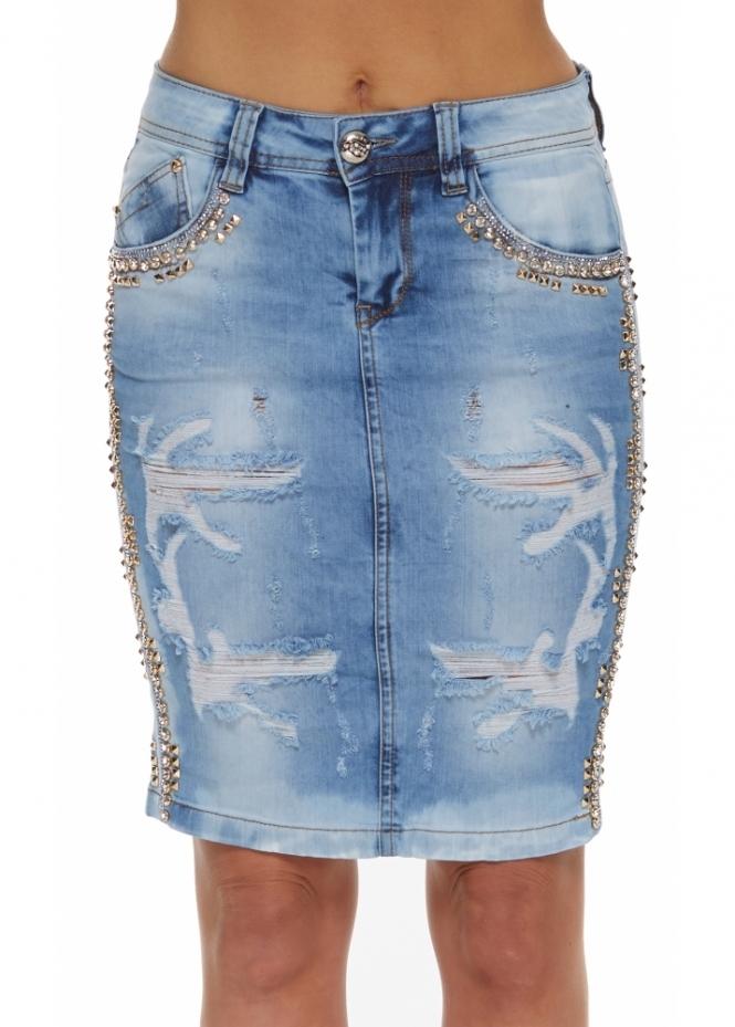 Dishe Diamonte & Gold Stud Frayed Light Blue Denim Midi Skirt