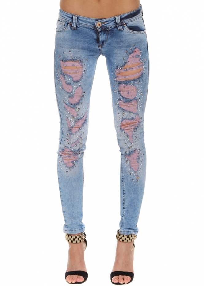 Dishe Stud & Diamonds Pink Frayed Skinny Jeans