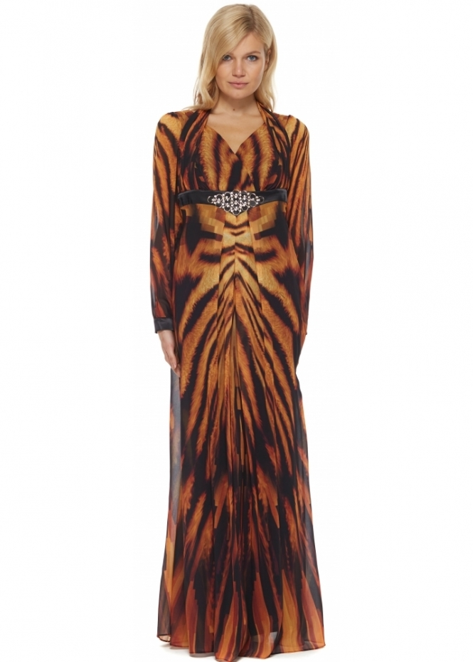 Genese Tigeres Tiger Print Chiffon Maxi Dress With Halter Ties