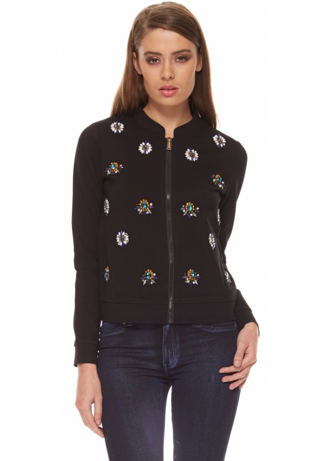 Silvian Heach Donny Jewelled Zip Front Black Jacket