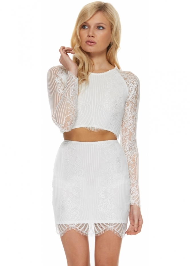 For Love & Lemons Lolo White Lace Crop Top & Mini Skirt Set