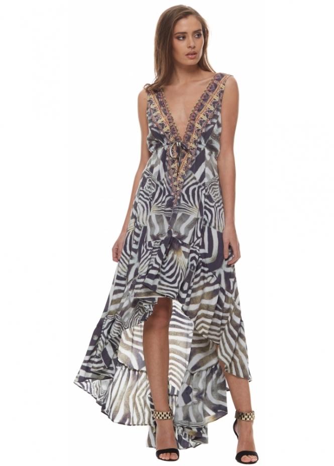 Shahida Parides Safari Zebra Print Silk Crepe Hi Low Dress