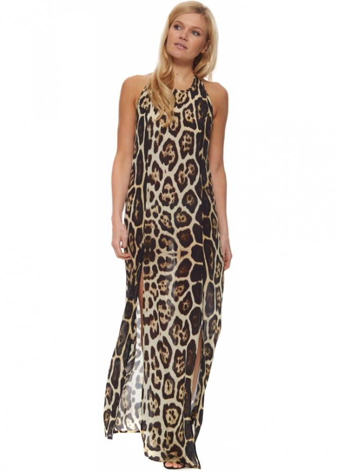 Shahida Parides Safari Jaguar Print Halter Neck Split Leg Maxi Dress