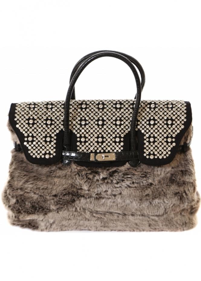 Silvian Heach Cugno Tote Bag In Moc Croc Faux Fur & Crystals