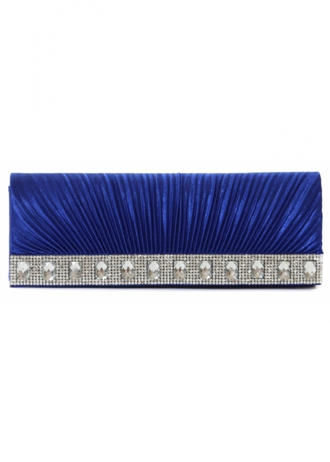Designer Desirables Shayla Diamante Royal Blue Ribbed Satin Clutch With Chain