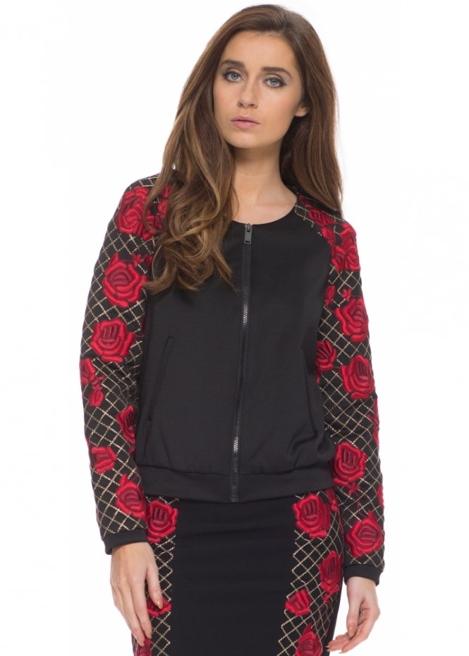 Silvian Heach Waldemar Red Roses Embroidered Black Jacket