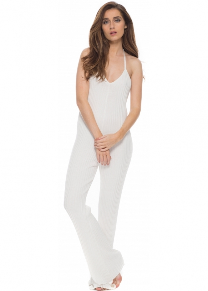 For Love & Lemons KNITZ Back To Basics White Ribbed Lounge Around Jumpsuit