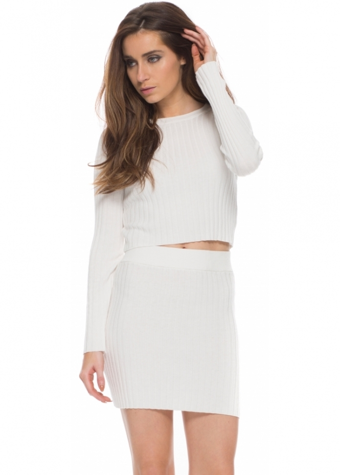 For Love & Lemons KNITZ Ribbed Snuggler Mini Skirt