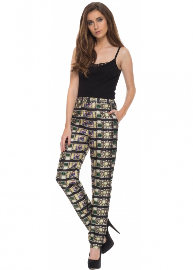 Pearls & Portraits Giovanna Tailored Trousers In Jewel Print With Beads