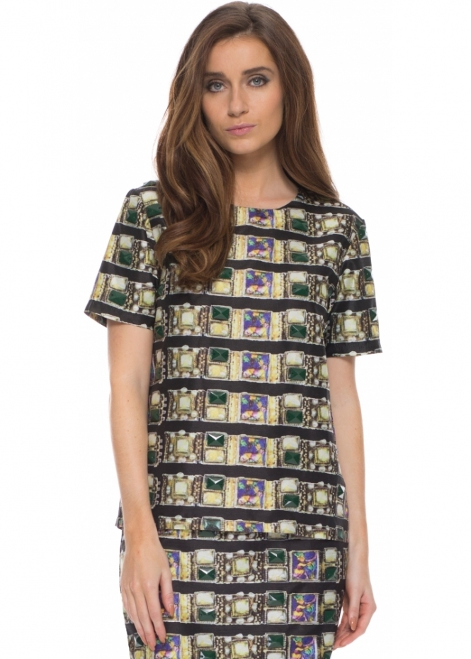 Pearls & Portraits Maria Jewel Print Blouse Embellished With Glass Beads