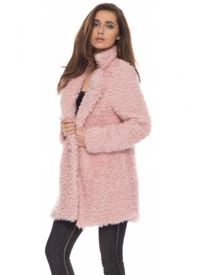 Vera Amp Lucy Coat Baby Pink Fluffy Coat Pink Faux Fur Coat