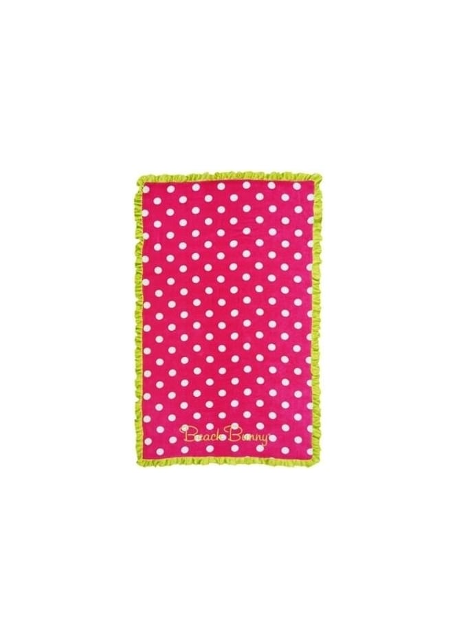 Beach Bunny Beach Towel In Hot Pink With Lime Frills