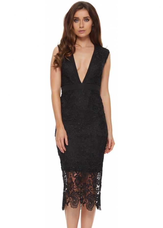 Abyss Stunning Black Lace Bunny Pencil Dress