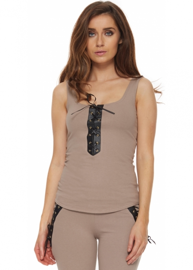 Just Unique Drew Tie Vest Top In Taupe