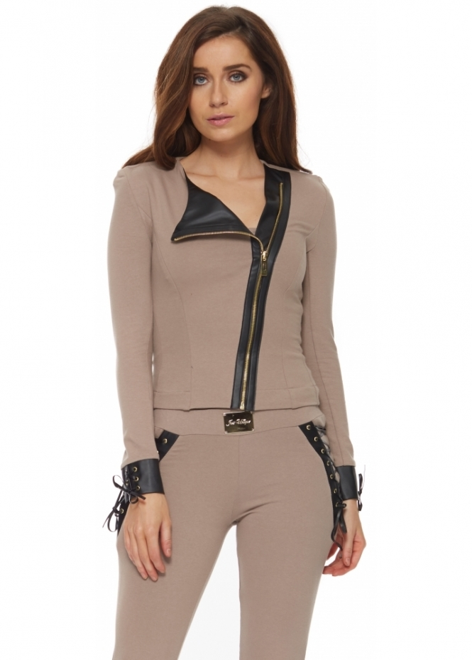 Just Unique Danika Asymmetric Front Corset Back Taupe Jacket
