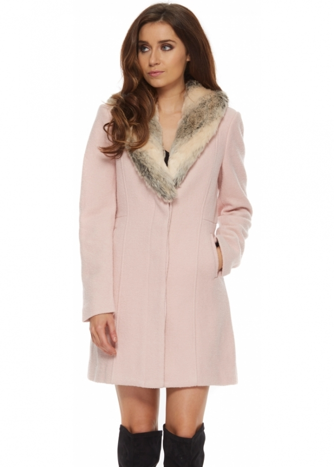 Bardot Veronika Coat Baby Pink Fur Collar Coat