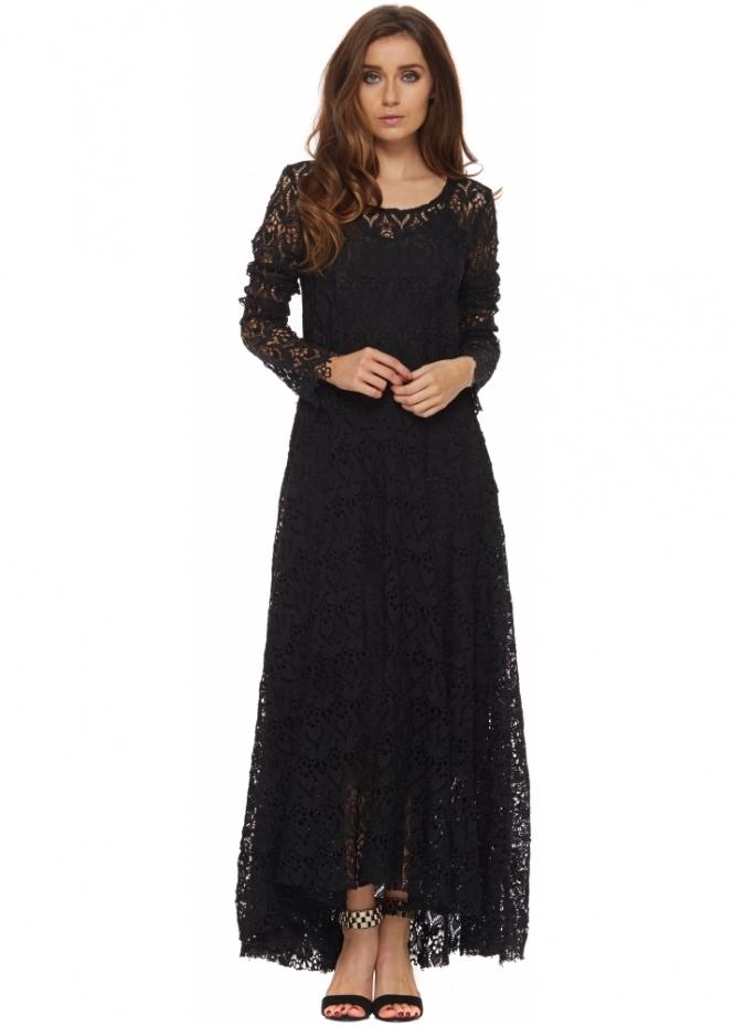 Brigitte Bardot Dress Ulrika Black Long Sleeved Lace