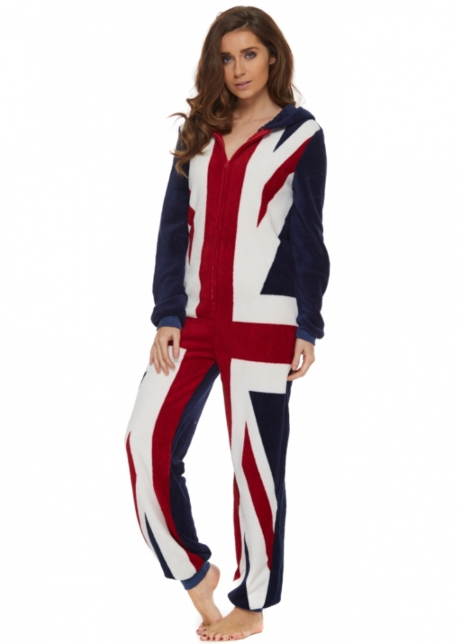 Union Jack Onesie British Flag Fleece Onesie