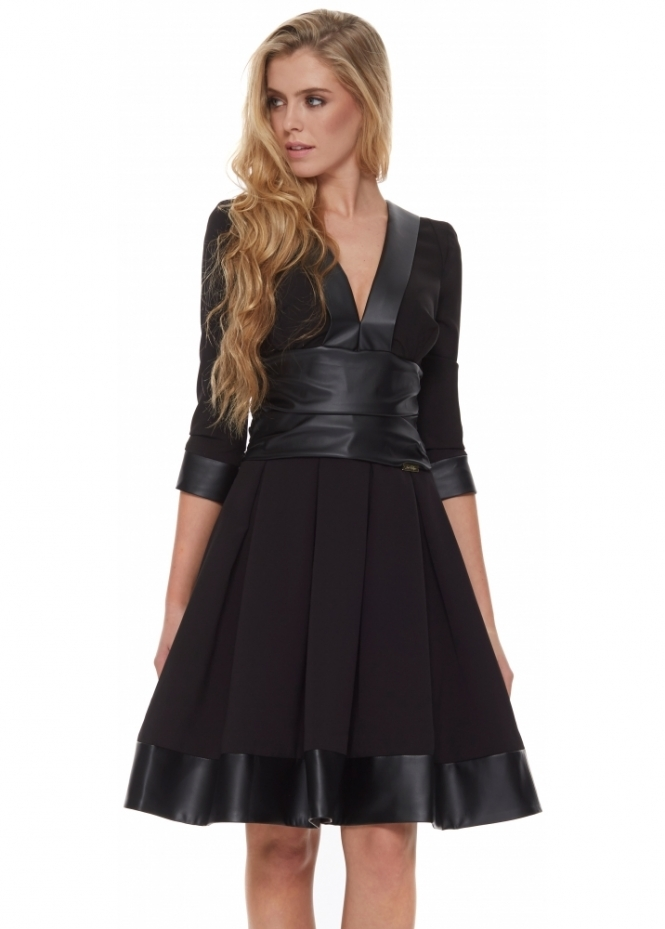 Just Unique Cayla Black Contrast PU Hem Long Sleeve Skater Midi Dress