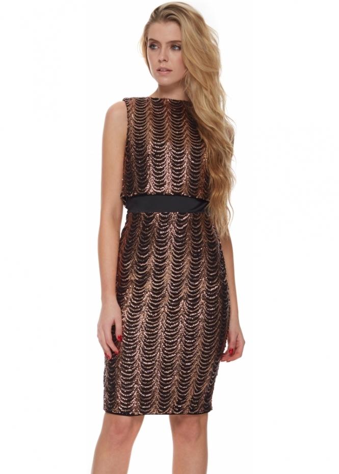 Vesper Crystal Collection Aurelia Bronze Sequin Dress With Jacket