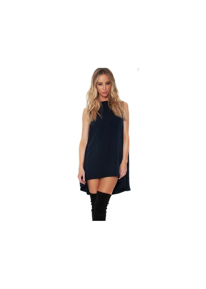 Lauren Pope Cape Dress In Navy Blue