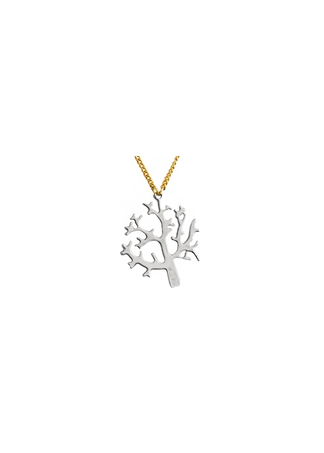 Sparkling Jewellery Silver Tree Of Life With Gold Chain Necklace