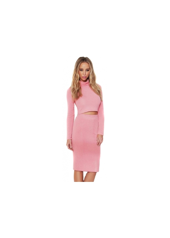 Lauren Pope Pink Roll Neck Co-Ord Skirt & Top