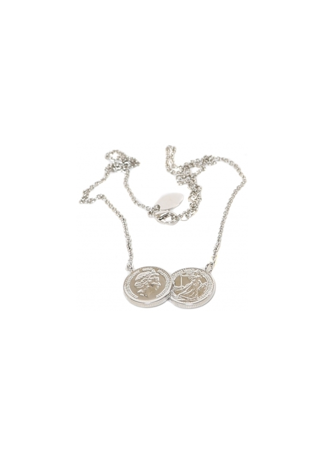 Sparkling Jewellery Two Coin Holly Silver Finish Necklace