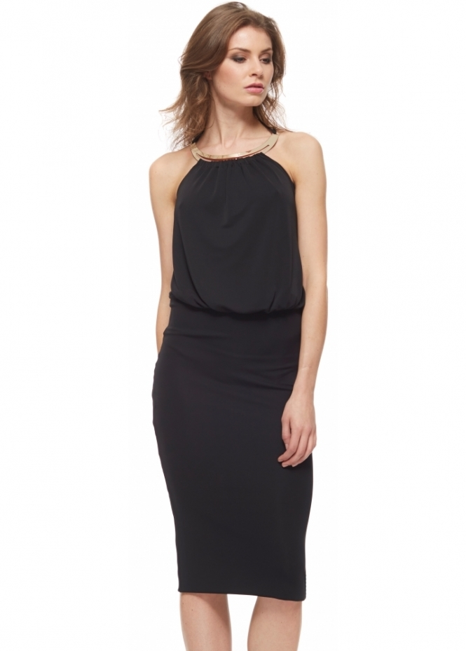 Little Black Dress Jessica Dress With Gold Necklace & Tie Back