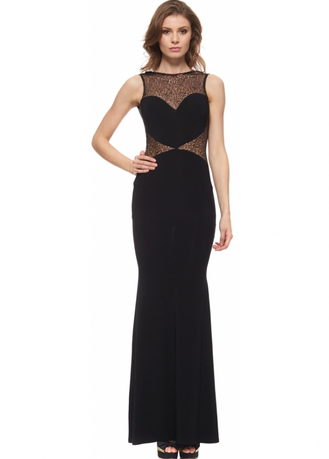 Little Black Dress Jennifer Dress With Sheer Sequinned Bodice & Sides