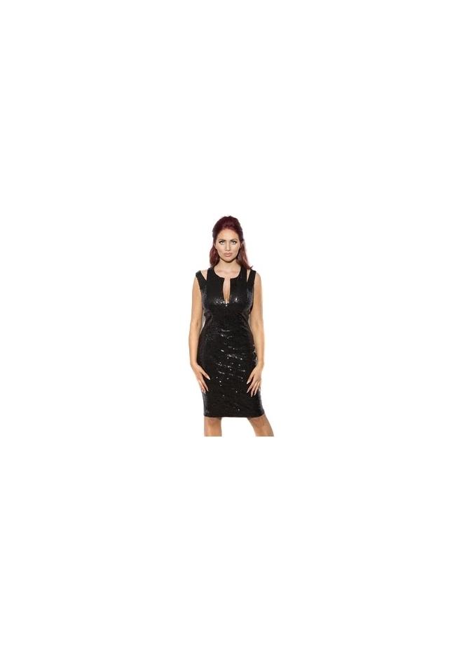 Amy Childs Belinda Dress Statement Shoulder Black Sequinned Midi