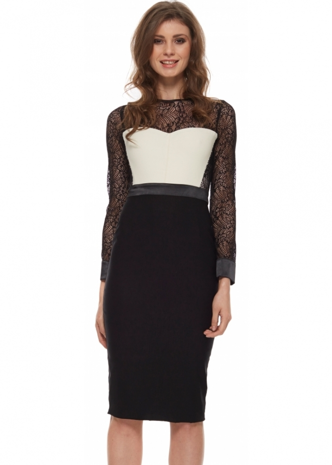 Vesper Crystal Collection Dalia Monochrome Lace Pencil Dress