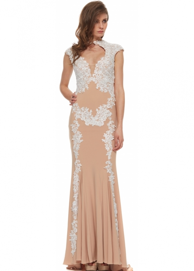 Jovani 89902 Nude & White Lace Cap Sleeve Evening Gown
