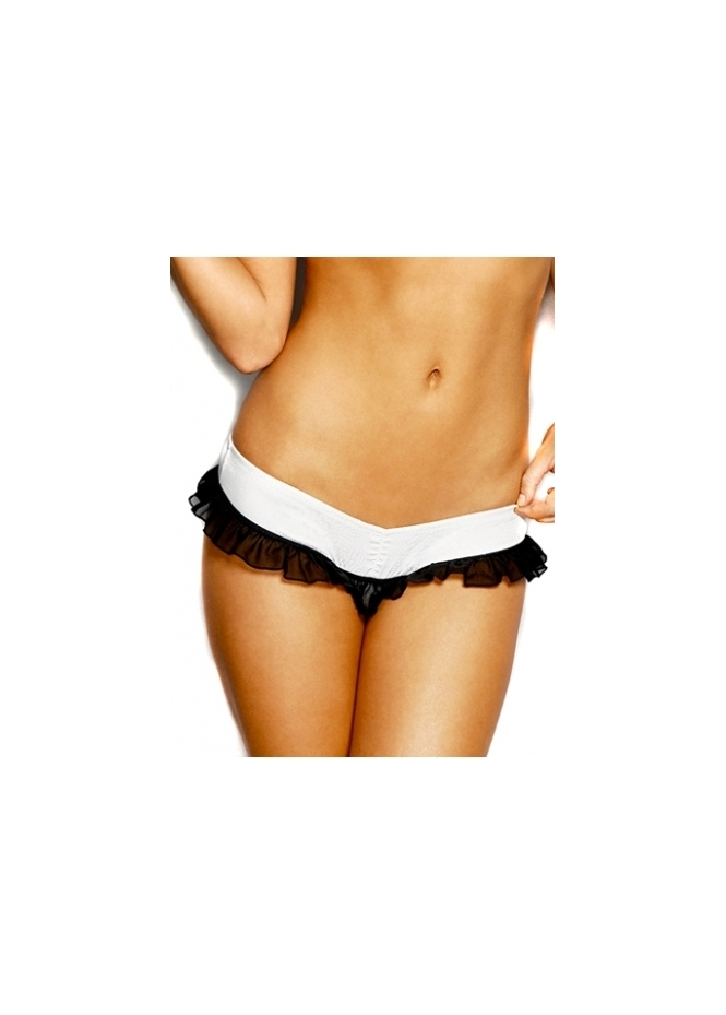 Love Haus Silk Ruffle Monochrome Thong