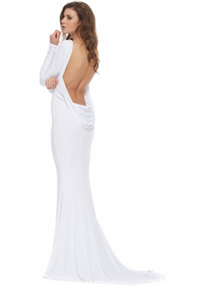 Portia & Scarlett Sophia White Cowl Back Drape Evening Gown With Long Train