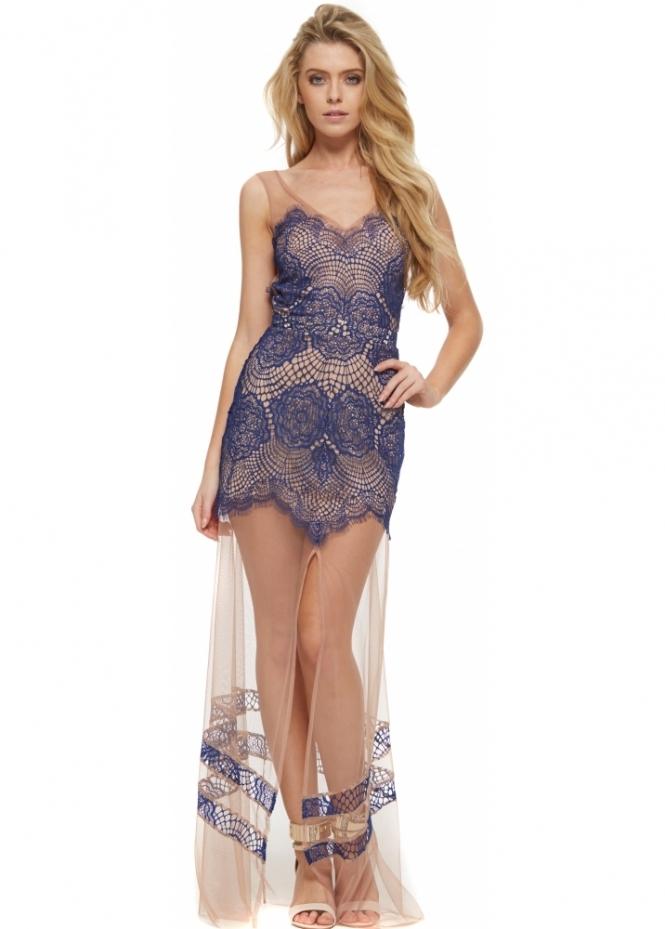 For Love & Lemons Antigua Maxi Dress In Sapphire