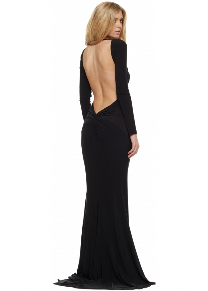 Abyss Moet Black Backless Evening Gown With Train