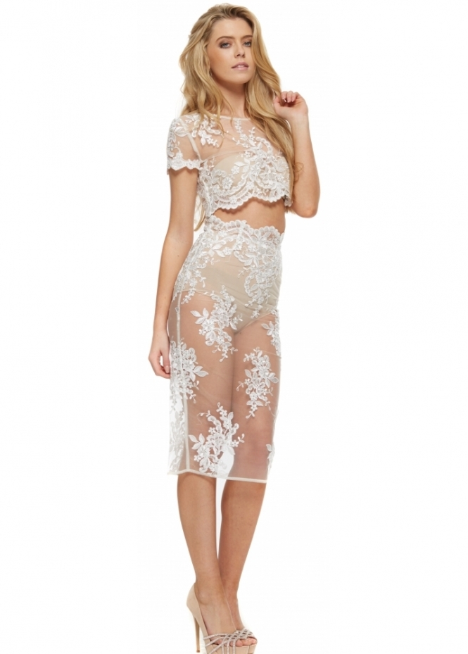 Abyss Diana Sheer Lace Pencil Skirt & Cropped Top Set