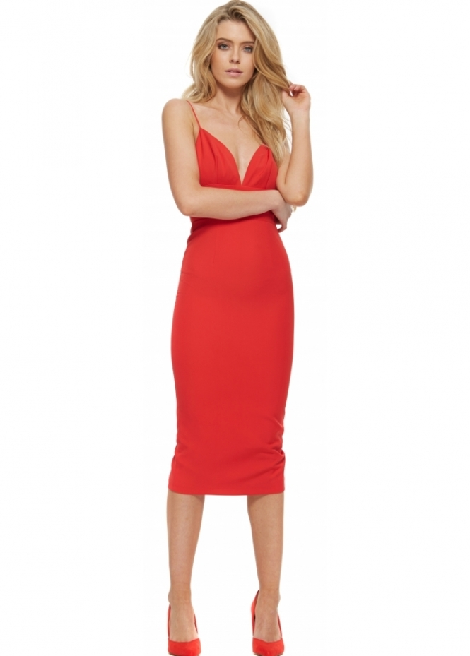 Abyss Sonja Red Backless Ruffle Back Midi Dress