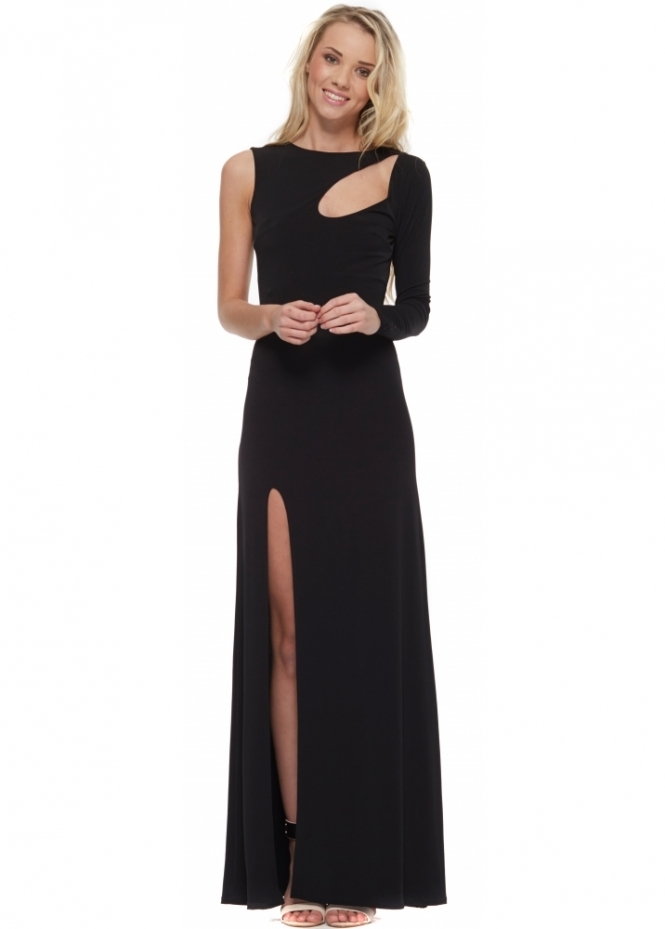 Goddess London Black One Sleeve Cut Out High Split Maxi Dress