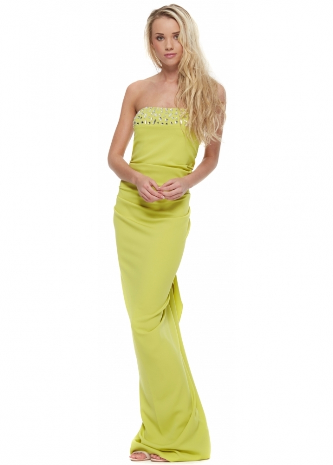 Nicole Bakti Lime Green Crystal Bustier Ruffle Back Evening Dress