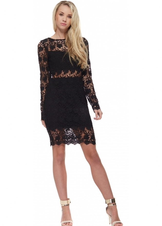 Vera & Lucy Black Long Sleeved Crochet Bodycon Dress