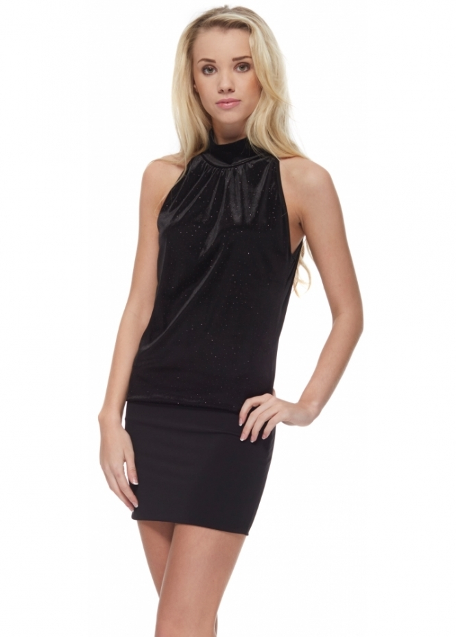 Shyloh Crystal Studded Black Velour Halter Neck Mini Dress