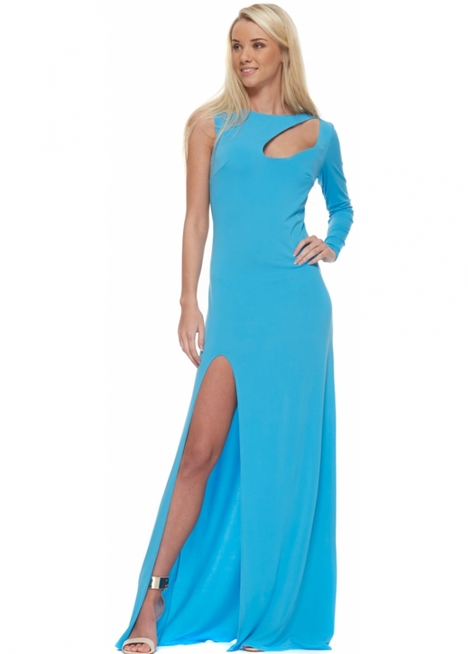 Goddess London Turquoise One Sleeve Cut Out High Split Maxi Dress